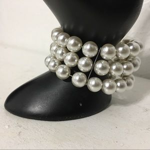 Jewelry - Vinyl 3-Strand Faux Pearl Open Back Memory Cuff